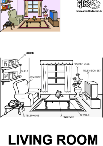 House Room Coloring Page: Colorir Desenho Living Room