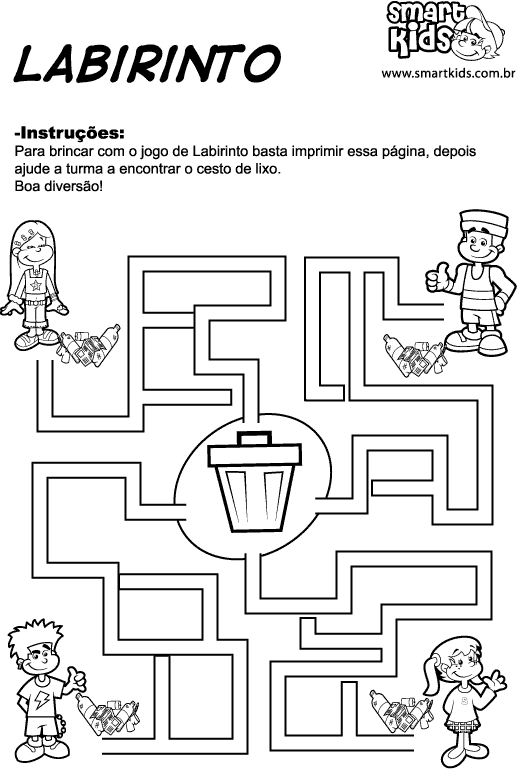 Reciclagem Labirinto on Recycle Worksheets